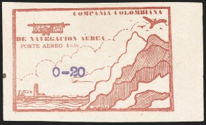Sale Number 1204, Lot Number 986, Colombia Air Post - Other 1920 CCNA IssuesCOLOMBIA, 1920, 20c on 10c Air Post, Typewritten Surcharges, Tight Spacing (C11G var; Sanabria 27 var), COLOMBIA, 1920, 20c on 10c Air Post, Typewritten Surcharges, Tight Spacing (C11G var; Sanabria 27 var)