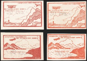 "Sale Number 1204, Lot Number 987, Colombia Air Post - Other 1920 CCNA IssuesCOLOMBIA, 1920, ""-30 cvs-"" on 10c Light Brown Red and Vermilion, Air Post Surcharges (Sanabria 22-25), COLOMBIA, 1920, ""-30 cvs-"" on 10c Light Brown Red and Vermilion, Air Post Surcharges (Sanabria 22-25)"