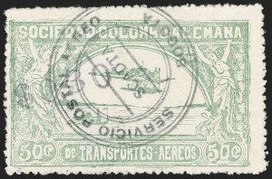 "Sale Number 1204, Lot Number 999, Colombia Air Post - 1921-23 SurchargesCOLOMBIA, 1921, ""$030"" on 50c Pale Green, Air Post Surcharge (Colomphil 9; Scott C23), COLOMBIA, 1921, ""$030"" on 50c Pale Green, Air Post Surcharge (Colomphil 9; Scott C23)"