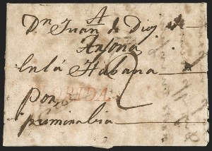 "Sale Number 1205, Lot Number 2001, Stampless Covers, Colonial thru Free Franks(Spanish Colonial Period) ""FLORIDA"", (Spanish Colonial Period) ""FLORIDA"""