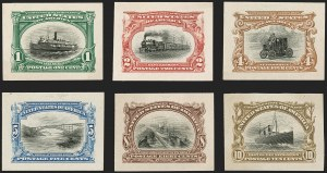 Sale Number 1205, Lot Number 2071, 1898-1901 Trans-Mississippi and Pan-American Issues1c-10c Pan-American, Panama-Pacific Small Die Proofs on Wove (294P2a-299P2a), 1c-10c Pan-American, Panama-Pacific Small Die Proofs on Wove (294P2a-299P2a)