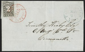 Sale Number 1205, Lot Number 2121, Carriers, Local Posts and Independent MailsBrowne & Co.'s City Post Office, Cincinnati O., 2c Black (29L2), Browne & Co.'s City Post Office, Cincinnati O., 2c Black (29L2)