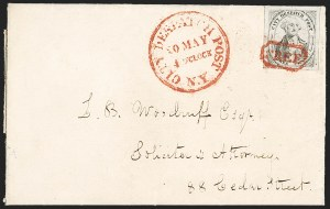 Sale Number 1205, Lot Number 2124, Carriers, Local Posts and Independent Mails(Greig's) City Despatch Post, New York N.Y., 3c Black on Grayish (40L1), (Greig's) City Despatch Post, New York N.Y., 3c Black on Grayish (40L1)