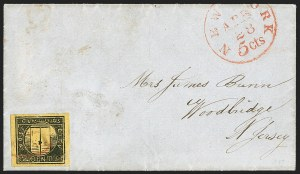 Sale Number 1205, Lot Number 2127, Carriers, Local Posts and Independent MailsCummings' City Post, New York N.Y., 2c Black on Yellow Glazed (55L3), Cummings' City Post, New York N.Y., 2c Black on Yellow Glazed (55L3)