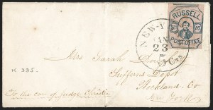 Sale Number 1205, Lot Number 2137, Carriers, Local Posts and Independent Mails, cont.Russell's 8th Ave. Post Office, New York N.Y., (2c) Blue on Rose (130L1), Russell's 8th Ave. Post Office, New York N.Y., (2c) Blue on Rose (130L1)