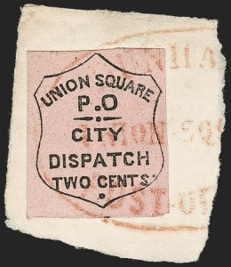 Sale Number 1205, Lot Number 2138, Carriers, Local Posts and Independent Mails, cont.Union Square Post Office, New York N.Y., 2c Black on Rose (141L3), Union Square Post Office, New York N.Y., 2c Black on Rose (141L3)