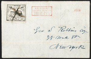 Sale Number 1205, Lot Number 2140, Carriers, Local Posts and Independent Mails, cont.W. Wyman, Boston Mass., 5c Black (149L1), W. Wyman, Boston Mass., 5c Black (149L1)