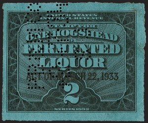 Sale Number 1205, Lot Number 2160, Revenues, Beer Stamps1933, Ty. B Surcharge on 1hhd. Black on Blue, Beer (REA168; Priester 196B), 1933, Ty. B Surcharge on 1hhd. Black on Blue, Beer (REA168; Priester 196B)