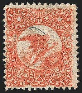 Sale Number 1205, Lot Number 2164, Revenues, Private Die Proprietary StampsN.Y. Match Co., 1c Vermilion, Silk Paper (RO137b), N.Y. Match Co., 1c Vermilion, Silk Paper (RO137b)