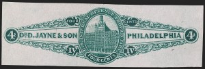 Sale Number 1205, Lot Number 2166, Revenues, Private Die Proprietary StampsDr. D. Jayne & Son, 4c Green, Pink Paper (RS146c), Dr. D. Jayne & Son, 4c Green, Pink Paper (RS146c)