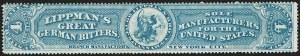 Sale Number 1205, Lot Number 2167, Revenues, Private Die Proprietary StampsJacob Lippman & Brother, 4c Blue, Old Paper (RS163a), Jacob Lippman & Brother, 4c Blue, Old Paper (RS163a)