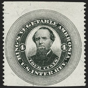 Sale Number 1205, Lot Number 2170, Revenues, Private Die Proprietary StampsRing's Vegetable Ambrosia, 4c Black, Silk Paper, Part Perforated (R203bp), Ring's Vegetable Ambrosia, 4c Black, Silk Paper, Part Perforated (R203bp)