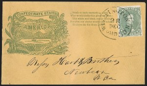 Sale Number 1205, Lot Number 2182, Confederate States5c Green, Stone 1-2 (1), 5c Green, Stone 1-2 (1)