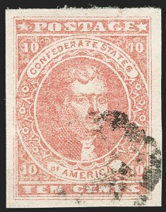 Sale Number 1205, Lot Number 2184, Confederate States10c Rose (5), 10c Rose (5)