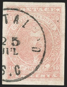 Sale Number 1206, Lot Number 1009, Confederate States: General Issues off Cover10c Rose (5), 10c Rose (5)