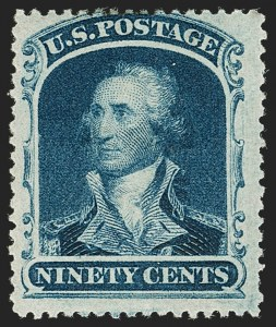 Sale Number 1206, Lot Number 101, 1857-60 Issue (Scott 21-39)90c Blue (39), 90c Blue (39)