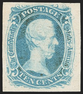 "Sale Number 1206, Lot Number 1015, Confederate States: General Issues off Cover10c Milky Blue, ""TEN"" (9a), 10c Milky Blue, ""TEN"" (9a)"