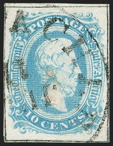 Sale Number 1206, Lot Number 1023, Confederate States: General Issues off Cover10c Milky Blue, Frameline (10a), 10c Milky Blue, Frameline (10a)