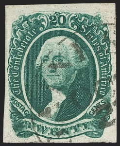 Sale Number 1206, Lot Number 1029, Confederate States: General Issues off Cover20c Dark Green (13), 20c Dark Green (13)