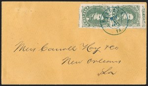Sale Number 1206, Lot Number 1030, Confederate States: General Issues on Cover5c Green, Stone 1-2 (1), 5c Green, Stone 1-2 (1)