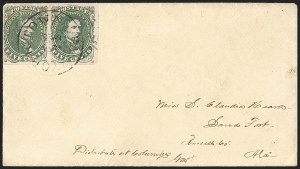 Sale Number 1206, Lot Number 1032, Confederate States: General Issues on Cover5c Olive Green, Stone 1 (1c), 5c Olive Green, Stone 1 (1c)
