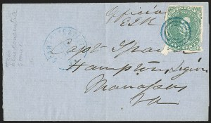 Sale Number 1206, Lot Number 1033, Confederate States: General Issues on Cover5c Green, Stone 1-2 (1), 5c Green, Stone 1-2 (1)