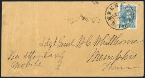 Sale Number 1206, Lot Number 1035, Confederate States: General Issues on Cover10c Dark Blue, Hoyer & Ludwig (2b), 10c Dark Blue, Hoyer & Ludwig (2b)