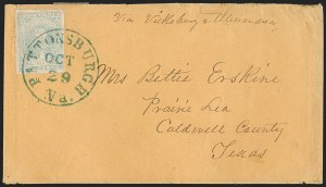 Sale Number 1206, Lot Number 1036, Confederate States: General Issues on Cover10c Light Milky Blue, Stone Y (2e), 10c Light Milky Blue, Stone Y (2e)