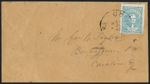 Sale Number 1206, Lot Number 1037, Confederate States: General Issues on Cover10c Greenish Blue, Stone Y (2e), 10c Greenish Blue, Stone Y (2e)