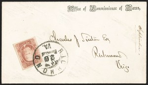 Sale Number 1206, Lot Number 1050, Confederate States: General Issues on Cover2c Brown Red (8), 2c Brown Red (8)
