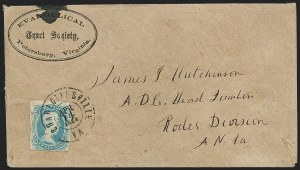 "Sale Number 1206, Lot Number 1052, Confederate States: General Issues on Cover10c Blue, ""TEN"" (9), 10c Blue, ""TEN"" (9)"