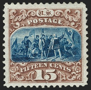 Sale Number 1206, Lot Number 182, 1875 Re-Issue of 1869 Pictorial Issue (Scott 123-133a)15c Brown & Blue, Re-Issue (129), 15c Brown & Blue, Re-Issue (129)