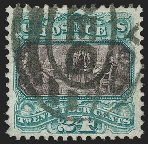 Sale Number 1206, Lot Number 188, 1875 Re-Issue of 1869 Pictorial Issue (Scott 123-133a)24c Green & Violet, Re-Issue (130), 24c Green & Violet, Re-Issue (130)