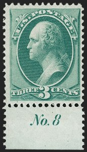 Sale Number 1206, Lot Number 198, 1870-73 Bank Note Issues (Scott 134-166)3c Green, H. Grill (136). Mint N.H, 3c Green, H. Grill (136). Mint N.H