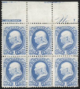 Sale Number 1206, Lot Number 211, 1870-73 Bank Note Issues (Scott 134-166)1c Ultramarine (156), 1c Ultramarine (156)