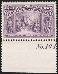 Sale Number 1206, Lot Number 244, 1893 Columbian Issue (Scott 230-245)6c Red Violet, Columbian (235a), 6c Red Violet, Columbian (235a)
