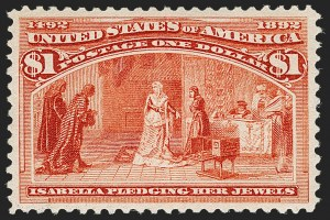 Sale Number 1206, Lot Number 252, 1893 Columbian Issue (Scott 230-245)$1.00 Columbian (241), $1.00 Columbian (241)