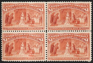 Sale Number 1206, Lot Number 253, 1893 Columbian Issue (Scott 230-245)$1.00 Columbian (241), $1.00 Columbian (241)