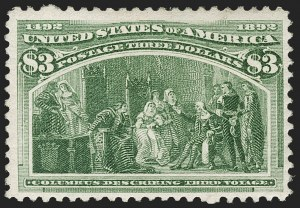 Sale Number 1206, Lot Number 256, 1893 Columbian Issue (Scott 230-245)$3.00 Columbian (243), $3.00 Columbian (243)