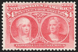 Sale Number 1206, Lot Number 257, 1893 Columbian Issue (Scott 230-245)$4.00 Columbian (244), $4.00 Columbian (244)