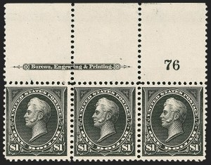 Sale Number 1206, Lot Number 298, 1895 Watermarked Bureau Issue (Scott 264-278)$1.00 Black, Ty. I (276), $1.00 Black, Ty. I (276)