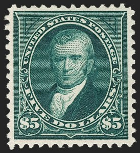 Sale Number 1206, Lot Number 303, 1895 Watermarked Bureau Issue (Scott 264-278)$5.00 Dark Green (278), $5.00 Dark Green (278)