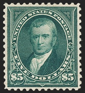 Sale Number 1206, Lot Number 304, 1895 Watermarked Bureau Issue (Scott 264-278)$5.00 Dark Green (278), $5.00 Dark Green (278)