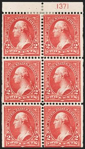 Sale Number 1206, Lot Number 309, 1897-1903 Change of Colors (Scott 279-284)2c Red, Ty. IV, Booklet Pane of Six, Vertical Wmk. (279Bk), 2c Red, Ty. IV, Booklet Pane of Six, Vertical Wmk. (279Bk)