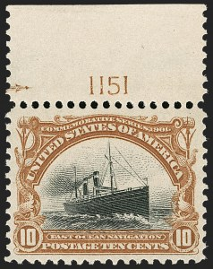 Sale Number 1206, Lot Number 339, 1901 Pan-American Issue (Scott 294-299)10c Pan-American (299), 10c Pan-American (299)