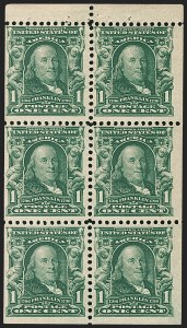 Sale Number 1206, Lot Number 342, 1902-08 Issues (Scott 300-320)1c Blue Green, Booklet Pane of Six (300b), 1c Blue Green, Booklet Pane of Six (300b)