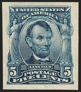 Sale Number 1206, Lot Number 358, 1902-08 Issues (Scott 300-320)5c Blue, Imperforate (315), 5c Blue, Imperforate (315)