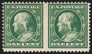 Sale Number 1206, Lot Number 377, 1908-10 Washington-Franklin Issues (Scott 331-356)1c Green, Booklet Pair, Imperforate Between (331a var), 1c Green, Booklet Pair, Imperforate Between (331a var)