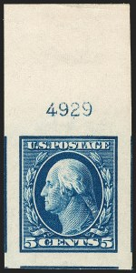Sale Number 1206, Lot Number 379, 1908-10 Washington-Franklin Issues (Scott 331-356)5c Blue, Imperforate (347), 5c Blue, Imperforate (347)