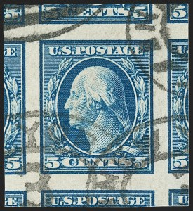 Sale Number 1206, Lot Number 380, 1908-10 Washington-Franklin Issues (Scott 331-356)5c Blue, Imperforate (347), 5c Blue, Imperforate (347)